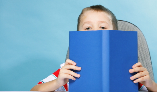 Child Boy Kid Reading A Book On Blue