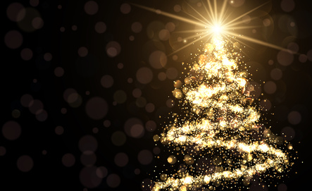 Golden Background With Christmas Tree.